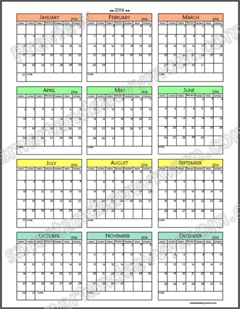 printable calendar year at a glance 2016 yearly calendar at a glance 2016 printable yearly