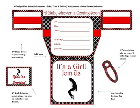 Girls Diaper Baby Shower Invitations Diaper Printable Baby Shower Invites Michael Jackson Invitations Templates