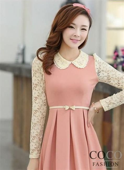 Dress Korea Pink By Griyaaglie dresses with collars pink