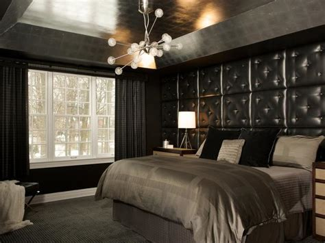 black and white curtains contemporary bedroom hgtv striking black bedroom with tufted leather headboard hgtv
