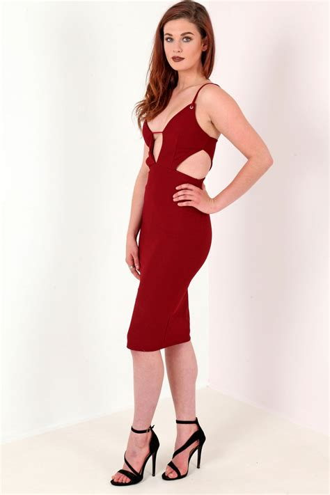 Midi Dress 219 plunge cut out midi dress from premier glam