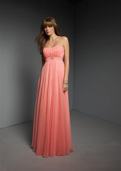 full length strapless cantelope chiffon sash bridesmaid