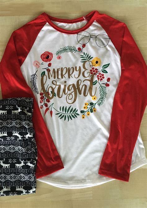 merry bright printed splicing long sleeve  shirt fairyseason
