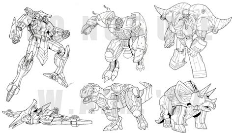 girl transformer coloring page tf classics dinobot minicons by beamer on deviantart