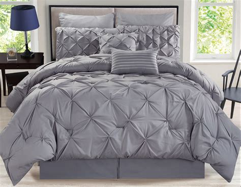pinched pleat comforter 8 piece rochelle pinched pleat gray comforter set ebay
