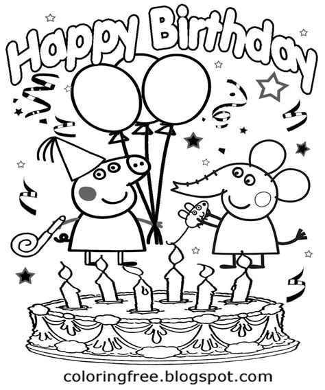 peppa pig birthday party coloring pages peppa pig coloring pages birthday bgcentrum