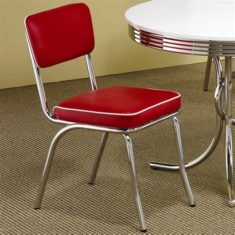 Metal Retro Chairs by Retro Dining Chair Set Of Two In Chrome Metal With
