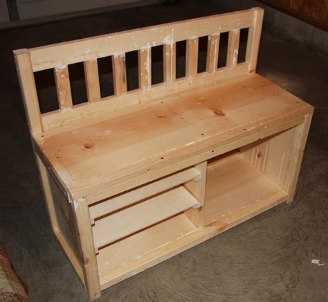 ana white  cottage bench  shoe rack diy projects