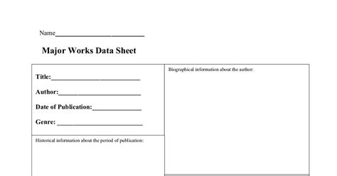 major works data sheet template major works data sheet doc drive