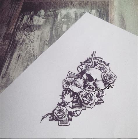 skull rose gun tattoo guns and roses bunette summer and autumn