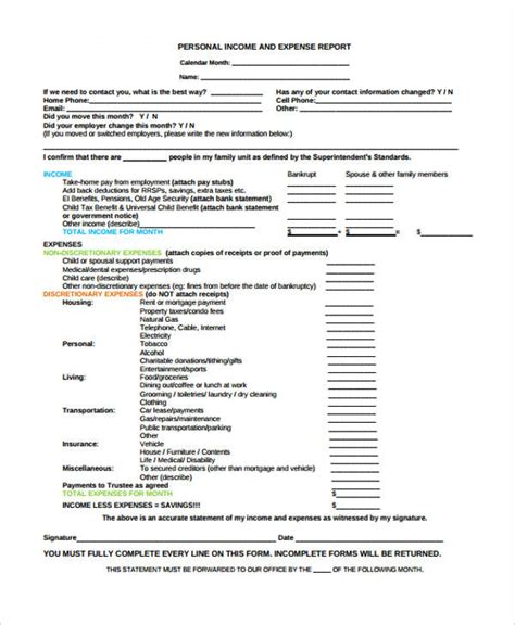 Income Expense Report Form