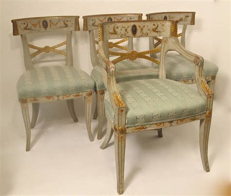 Set Of Eight Painted Adams Style Dining Chairs For Sale At Painted Dining Chairs For Sale