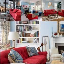 Canape Convertible Roche Et Bobois #15: Salon-canapé-rouge-mur-bleu-gris-poussérieux.jpg