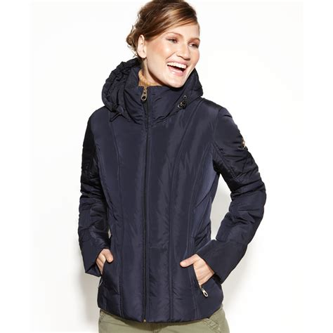 Calvin Klein Quilted calvin klein hooded quilted puffer in blue lyst