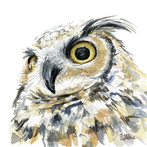 water color owl great horned owl watercolor painting by olga shvartsur