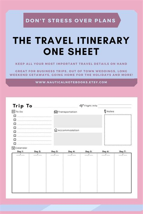 Travel Itinerary Template Family Travel Planner Printable Itinerary Vacation Itinerary For Vacation Template