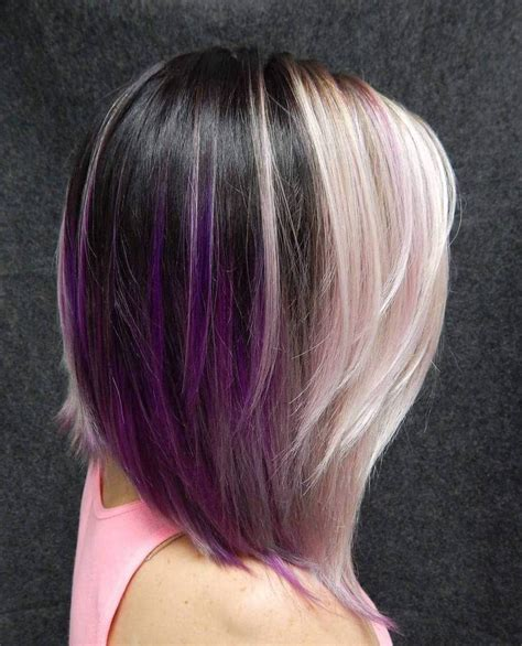 shag haircut brown hair with lavender grey streaks 40 versatile ideas of purple highlights for blonde brown