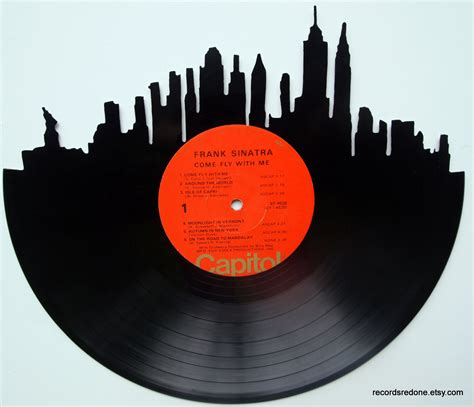 Recent Records New York City Skyline Silhouette Vinyl Record By Recordsredone