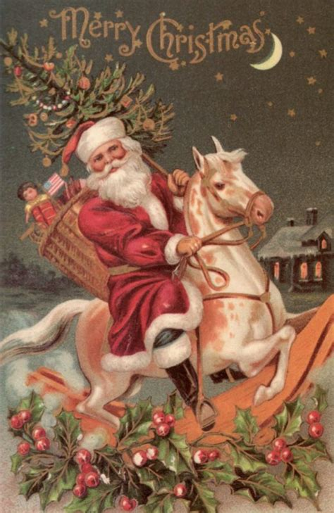 free printable christmas cards with horses victorian santa christmas card lucky palm graphics