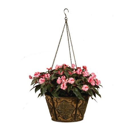 hanging planter basket deer park 16 in planter metal hanging basket diamond with