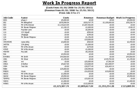 Job Costing Software For The Uk Construction Industry Accounting Wip Schedule Template