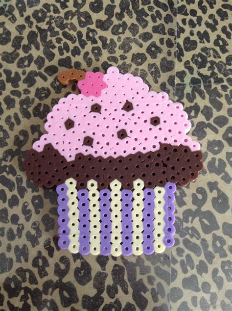 perler bead cupcake items similar to kawaii cupcake perler bead sprite on etsy