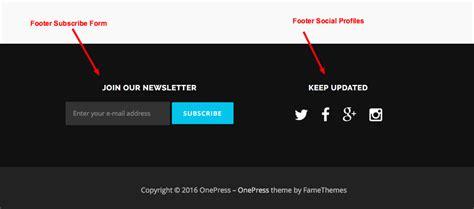 layout footer newsletter onepress documentation famethemes documentation
