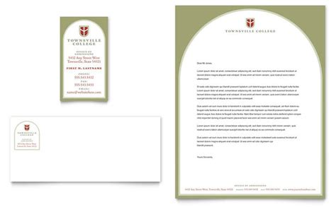 College Letterhead Sles College Business Card Letterhead Template Design