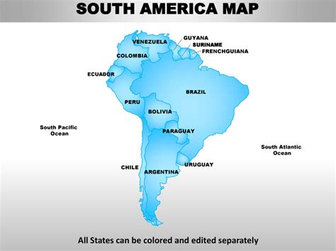 south america map by country south america editable continent map with countries