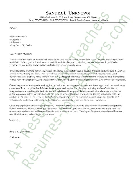 thank you letter to substitute substitute cover letter sle and