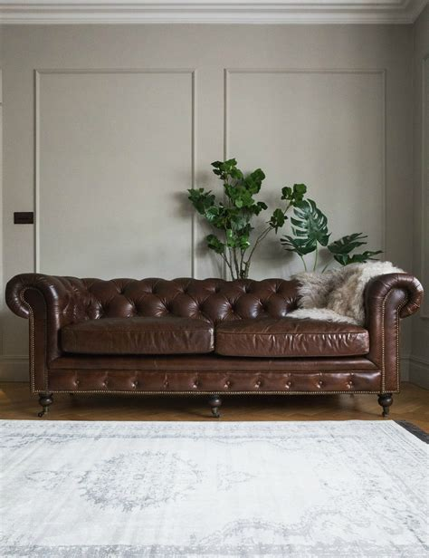Vintage Leather Sofa Uk by Vintage Leather Chesterfield 3 Seater Sofa Grey