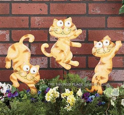 Cat Garden Decor Set Of 3 Whimsical Metal Frog Or Cat Garden Yard Decor Stakes
