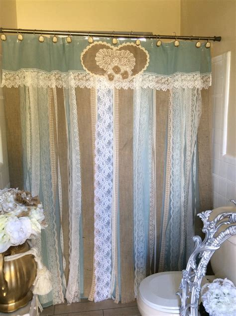 rustic bathroom shower curtains 72 shabby rustic chic burlap shower curtain lace ruffles