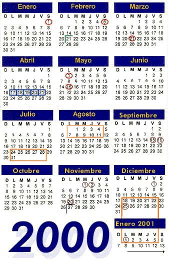 Calendario Ano 2000 Dgae Ajustes Calendario 2000