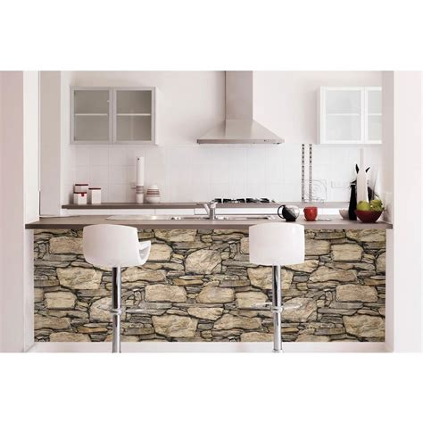 peel and stick wall nuwallpaper brown hadrian stone wall peel and stick