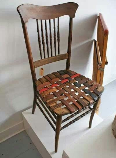woven leather chair diy leather belt woven seat home decor diy