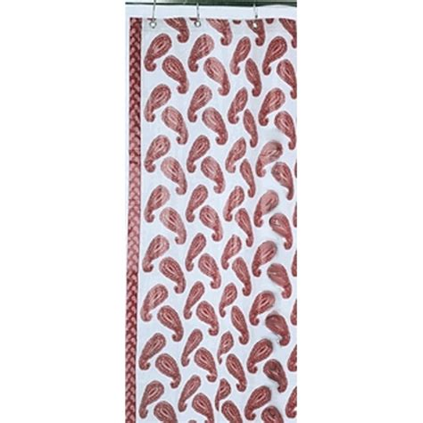 red vinyl shower curtain catalog detail retro red paisley vinyl shower curtain