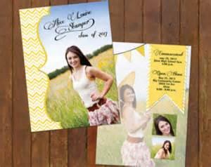 yellow chevron graduation invitation announcement front back
