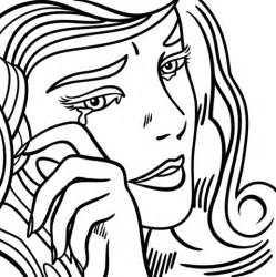 printable pop art coloring pages crying girl by roy lichtenstein coloring page free