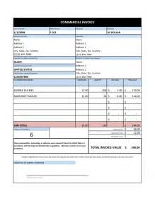 commercial invoice template excel sle invoice template sles and templates