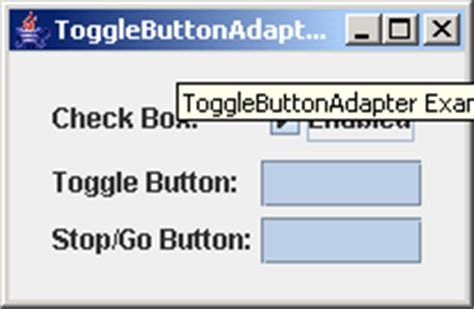 java swing toggle button jgoodies binding toggle button adapter exle data