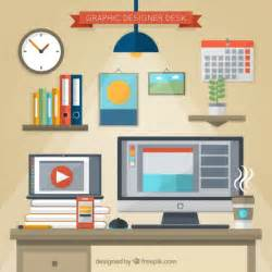 graphic design from home graphic designer desk in flat design free vector free