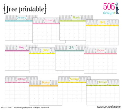 free printable 2012 calender with editable text 505
