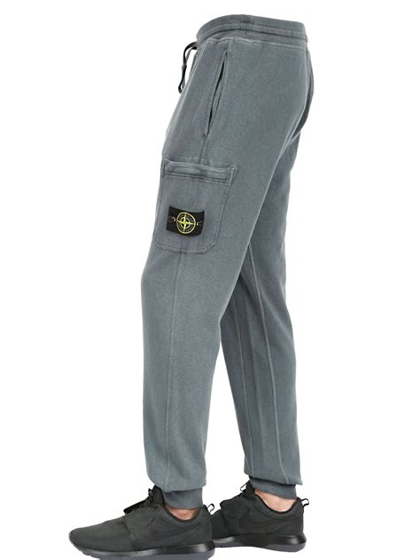 lyst stone island garment dyed cotton jogging pants