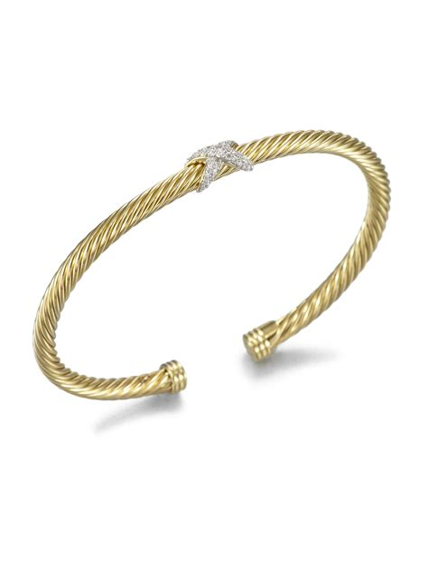 david yurman paveacute diamonds 18k gold cuff bracelet in