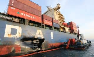 Hyundai Bridge Boxship Hyundai Bridge In Collision Busan Port