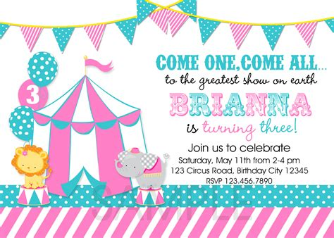 cool free template circus themed birthday party
