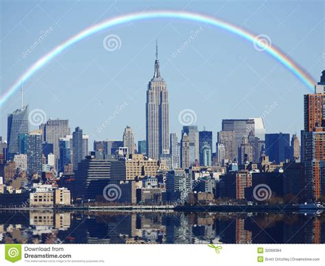 new york through the 1781579733 rainbow over new york skyline stock photo image of cityscape state 32068384