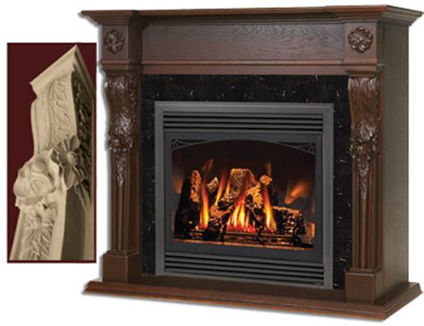 large gas fireplace napoleon westchester large carved wooden mantel for