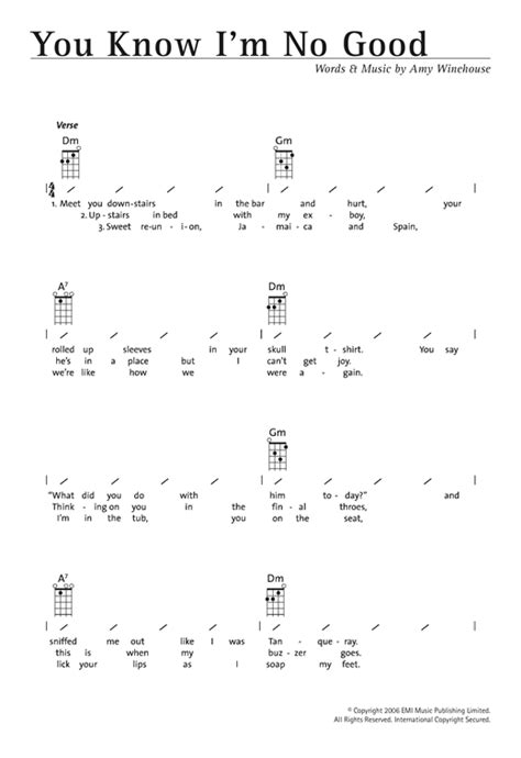 strumming pattern for line to heaven you know i m no good sheet music by amy winehouse ukulele